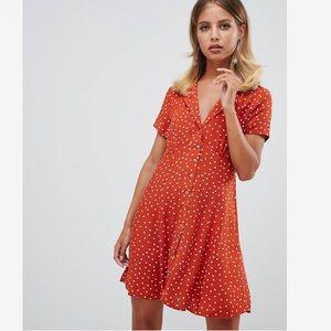 Rust burnt orange polka dot collar skater dress